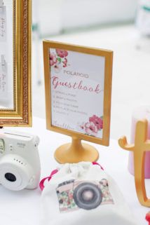 Create a polaroid guest! Build a guest book station with some cute signage in frames, a few polaroid instructions, writing materials and pretty framed instructions! Click for more idea!
