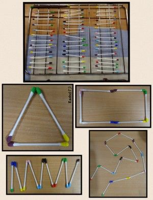 """Cotton buds dipped in paint & used for pattern-making, matching & shape activities - from Rachel ("""",)"""