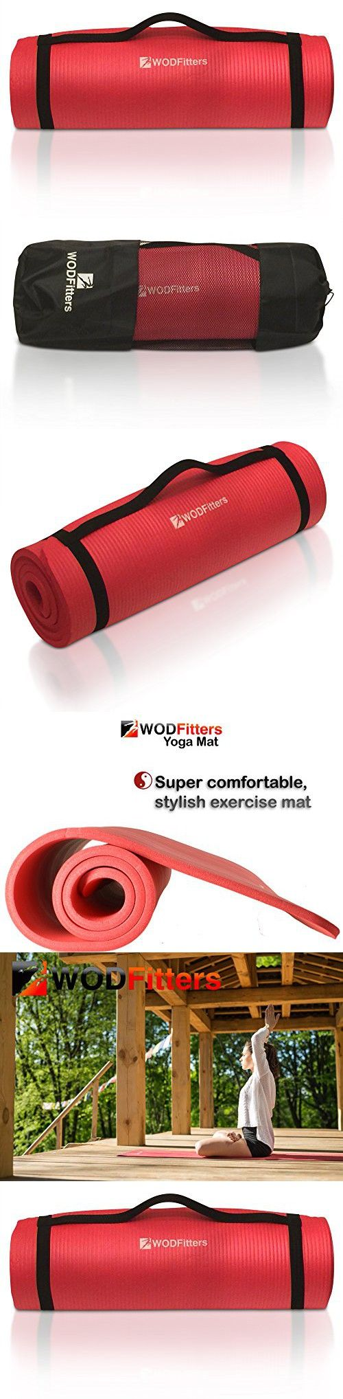 Yoga Pilates Exercise Workout Mat By WODFitters - ½ '' Thick For Maximum Joint Protection & Comfort - Slip Resistant, Hypoallergenic - Carrying Strap - Bonus Carrying Bag(Red)