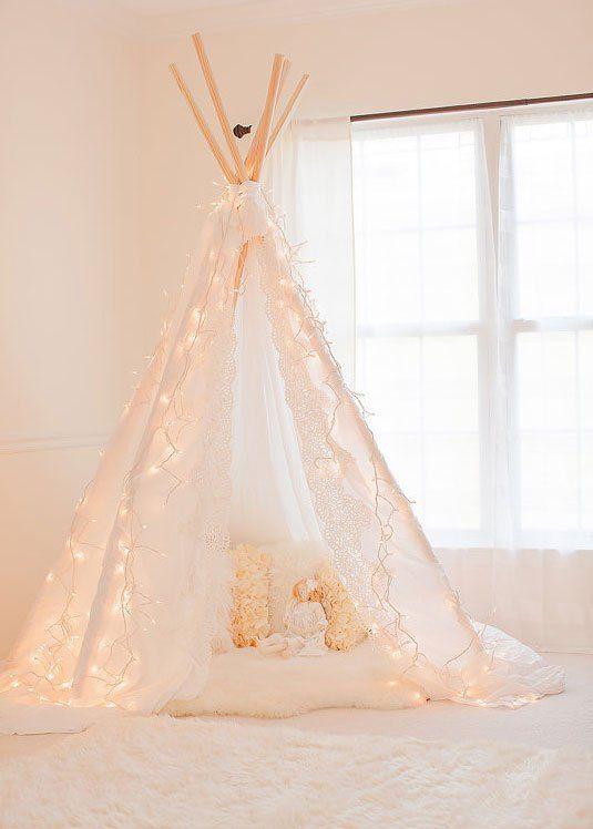 teepee with fairy lights
