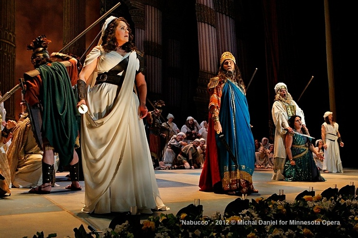 Brenda Harris as Abigaille, presumed daugher of Nabucco, Jason Howard as Nabucco, King of Babylon, John Relyea as Zaccaria, High Priest of the Hebrews, Victoria Vargas as Fenena, younger daugher of Nabucco, John Robert Lindsey as Ismaele, nephew of the King of Jerusalem and Company in the Minnesota Opera production of Nabucco.