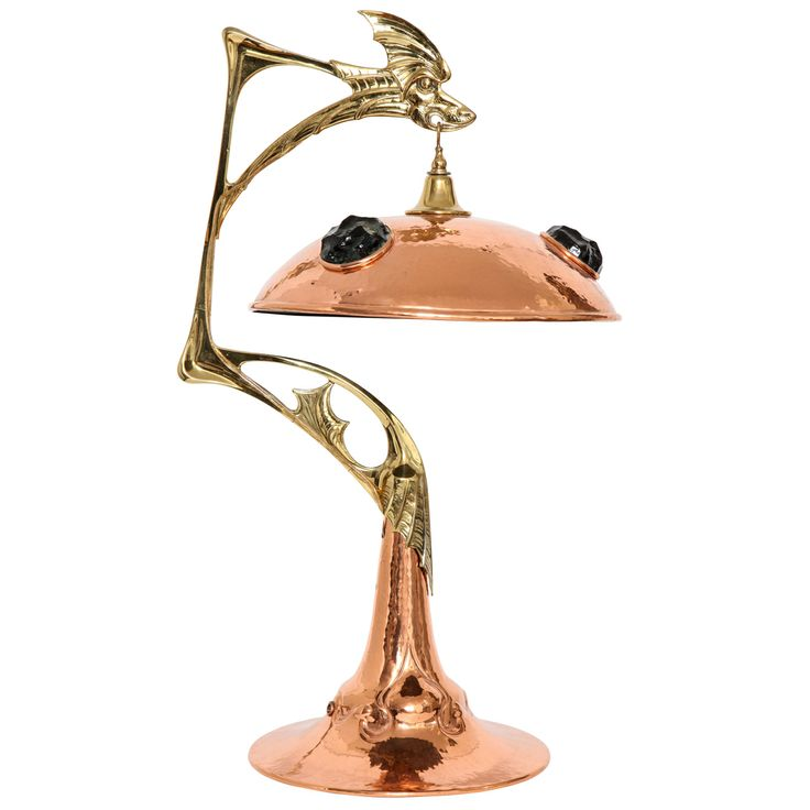 art nouveau lighting style. art nouveau hand hammered copper, brass and glass dragon lamp lighting style