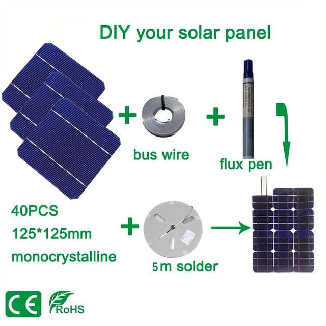 Boguang 100w Diy Solar Panel Charger Kit 40pcs Monocrystall Solar Cell 5x5 With 20m Tabbing Wire 2m Busbar Wire And 1 Flux Pen Review Solar Cell Solar Panels Solar Panel Charger
