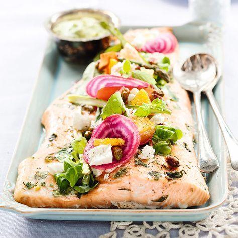 Lax med dillpesto och picklade grönsaker