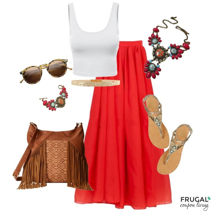 Boho Red A-Line Skirt Outfit for our Frugal Fashion Friday.  Sweet Summer or Outdoor Concert Outfit. Polyvore Outfit of the Day.