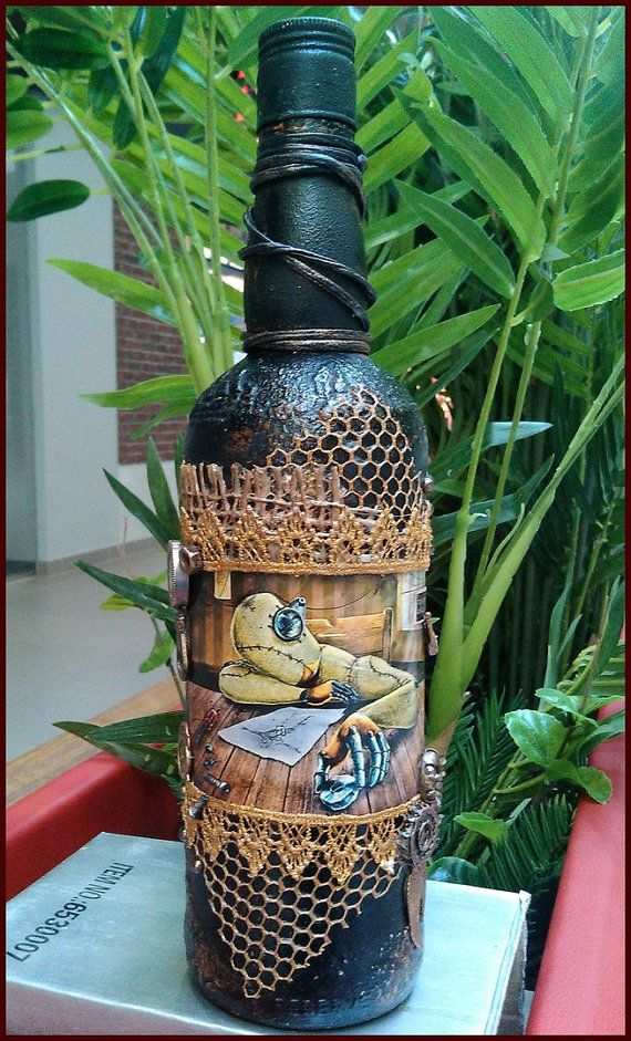 Decoupage bottle Decorative steampunk handmade glass bottle Shebby souvenir Kitchen and dining decor Present Gift Collection design bottle
