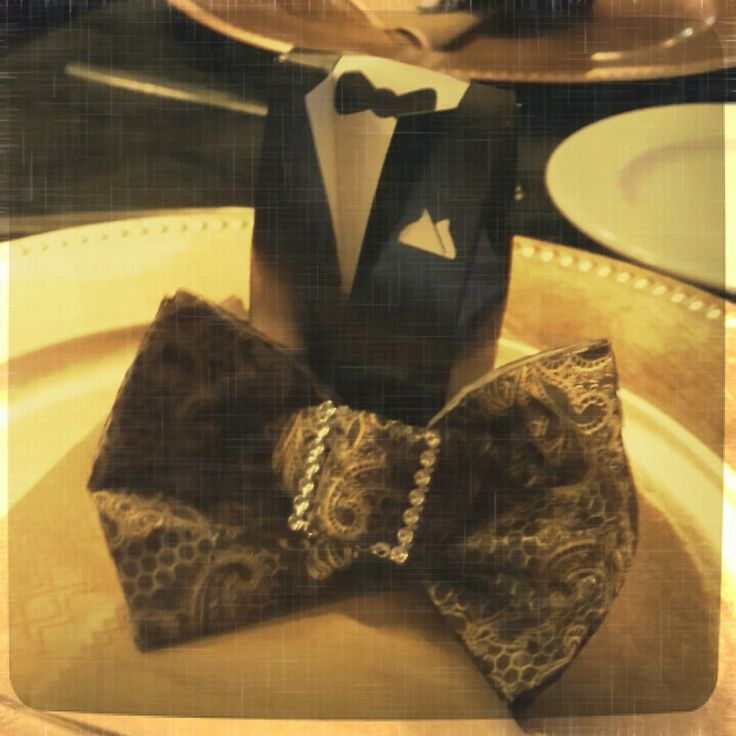 Great Gatsby Napkin Bow Tie and Thank You Gift