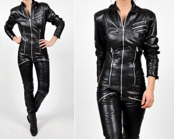 reserved  vintage black LEATHER ONE PIECE moto by MaevenOnEtsy -- this is kind of badass.