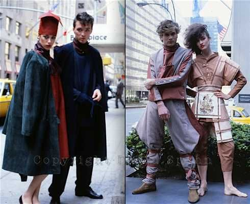 Lexington Avenue: A fashion shoot features Martin Kemp wearing Demob and Steve Norman wearing Pallium, along with the local girls. Photographed © by David Spahn, NY 1981