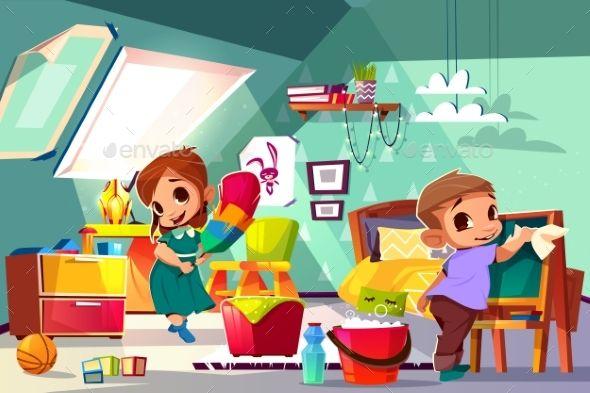 Kids Cleaning In Their Room Cartoon Vector Kids Cleaning Messy Kids Room Cleaning Cartoon