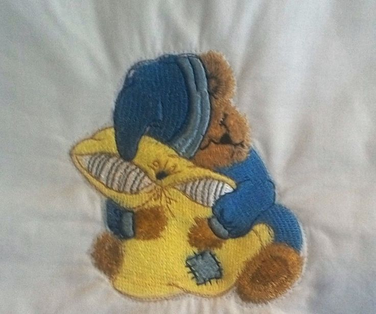 Baby's Quilt, BQ020, embroidered sleeping teddy bears, 100% cotton fabric. by TheQuiltedCheese on Etsy