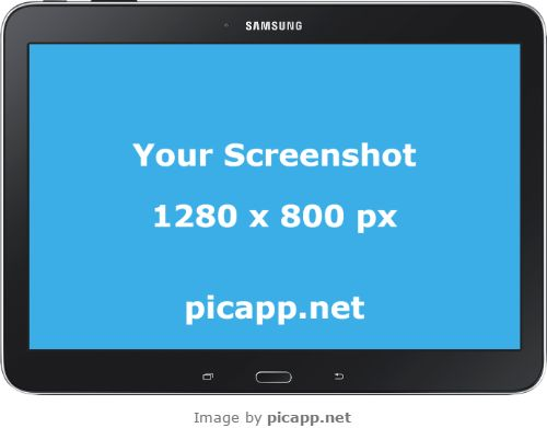 Present your new app to the world with this beautiful, black Samsung Tab 4 in landscape position with transparent background. How? Go to Picapp.net, choose what device frame you like and upload your best app screenshot. Download the final image in your PC in high resolution for $5 or in low resolution for free.  #samsungTab4 #nobackground #mockup #samsung #tab4 #picapp