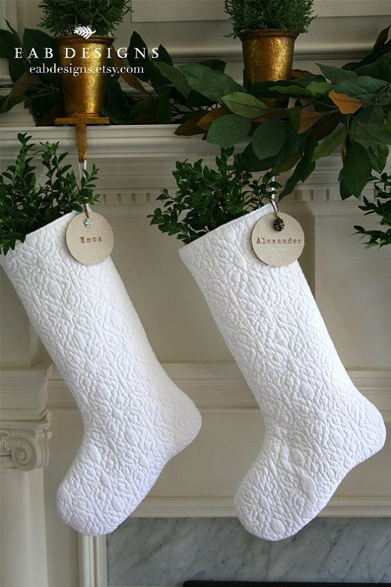 Personalized Christmas Stocking, White Stocking, White Christmas, Quilted…
