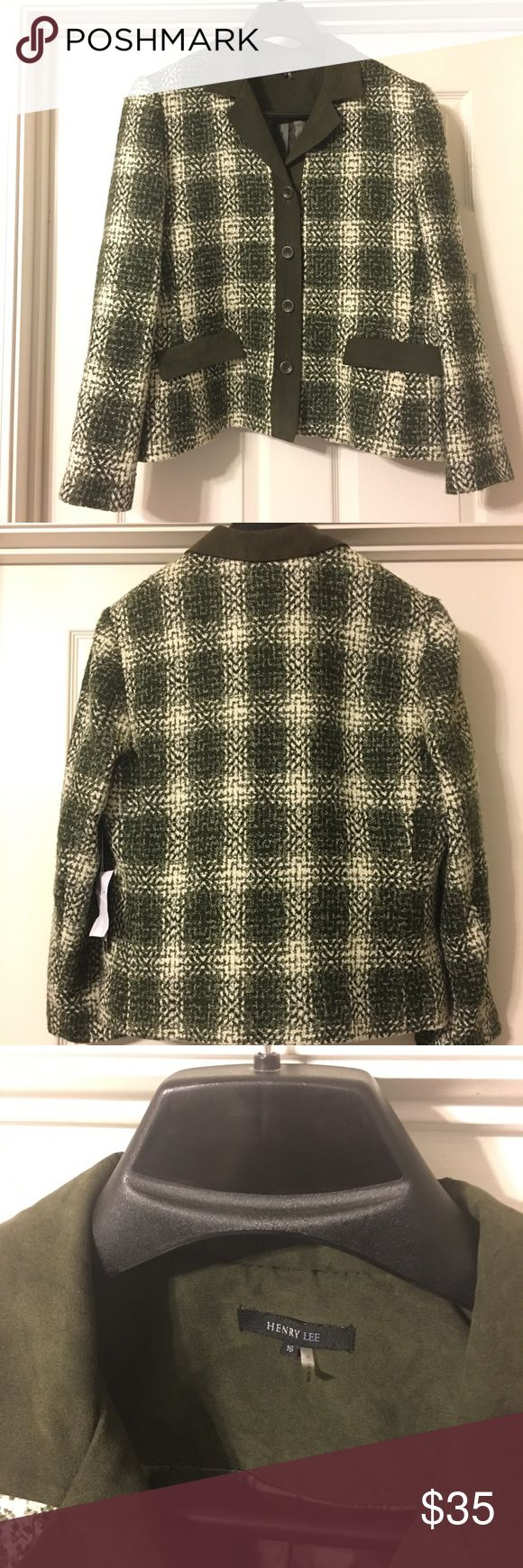 Henry Lee Tweed Olive & White Blazer Henry Lee Tweed Olive & White Blazer Size 16 Brand New with tags. Tweed jacket with inside lining. Henry Lee Jackets & Coats Blazers