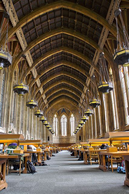 Suzzallo Library, Seattle. | Big, formal library reading rooms like this one are actually quite Basilica-like in the way that people move around them. Generally, people walk around it around the edges (aisles), only entering the center axis (nave) if they are going to take a photo or use the long reading tables. This processional circulation is now ingrained in most people. Walking right down the middle would be considered pretty rude and distracting!