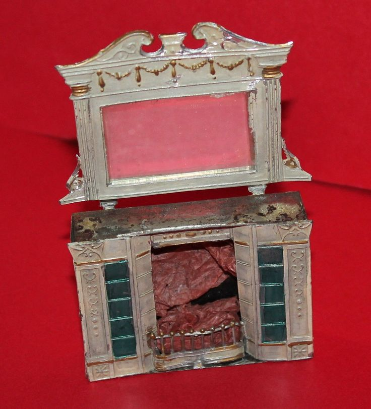 Vintage Dolls House Tin & Soft Metal Fireplace With Mantle Mirror Ref KM | eBay