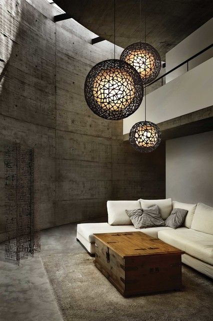 Decoration, Incredible Ball Pendant Lamp Applied In Rustic Living Room Design That Using White Sleeper Sofa Coupled Ith Antique Pirates Box ...