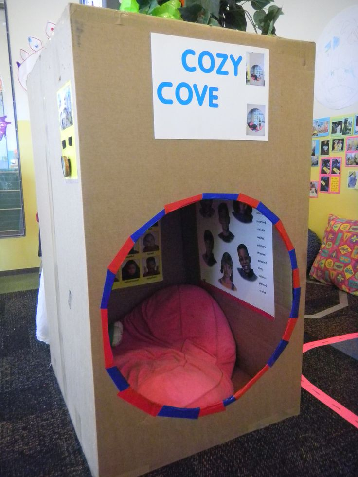 Cozy cove for children that want to be in their own space. Cardboard box. Photo taken by Ray Chavez. Project created by Ray Chavez and children.