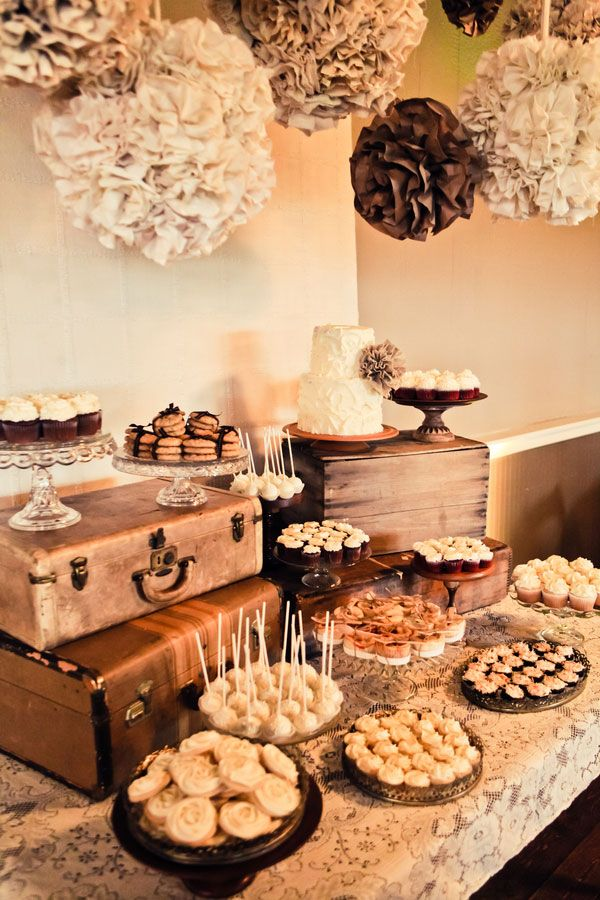 Vintage-Chic Dessert Table- Rustic Chic Dessert Tables on earlyivy.com