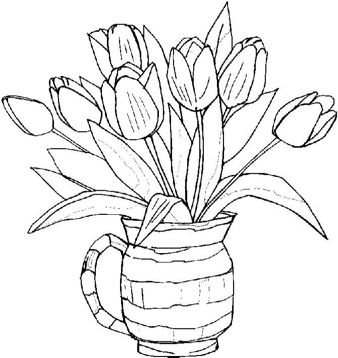 Tulips Spring Coloring Pages | coloring pages | Pinterest