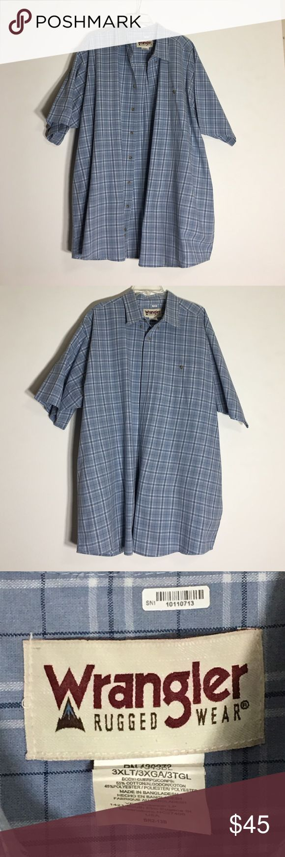 Wrangler Rugged Wear Plaid Shirt - 3XLT Gently Used Condition. Please ask questions before purchasing.  See pictures for more information and description details.  Thank you for stopping by my closet.  Sparkles ✨ and Happy Poshing!  📌Fair Offers Considered Wrangler Shirts Casual Button Down Shirts