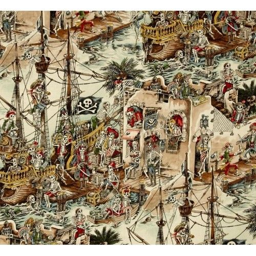 A great design made up of marine scenes of skeleton pirates.Suitable for quilting, apparel and craft items as well as home decor accents.   Colours: Colours include white, black, blues/greens, tans and natural tones, reds, grey, browns     Design: Skeleton cross bone flags appr