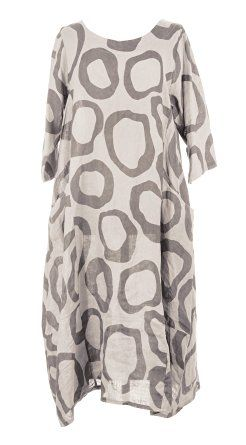 Ladies Womens Italian Lagenlook Quirky Short Sleeve Abstract Circle Print 2 Side Pocket Linen Long Dress One Size UK 12-16 (One Size, Beige): Amazon.co.uk: Clothing