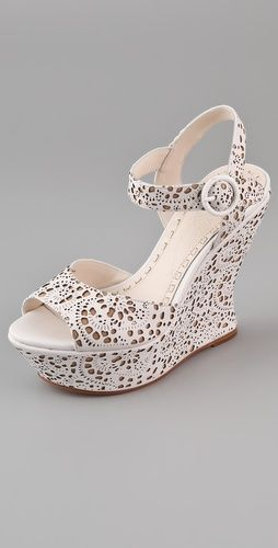 "Leather and ""lace."": Olivia Jana, Fashion Clothing, Laser Cut, Jana Laser, Cut Wedges, Wedges Sandals, Cut Outs, Lace Patterns, Alice Olivia"