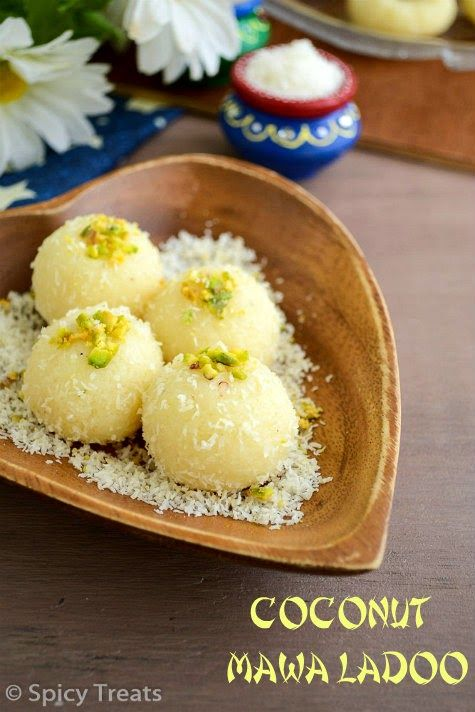 Spicy Treats: Coconut Peda   Coconut Mawa Peda   Coconut Mawa Ladoo Recipe - Easy Diwali Sweets