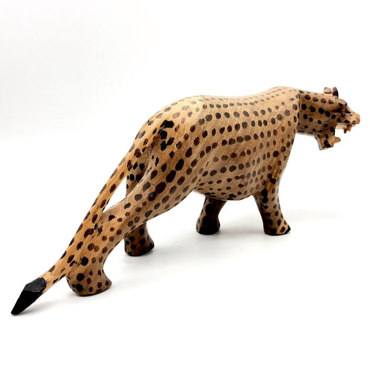 African Wood Carvings, Wooden Jaguar Leopard Animals, Hand Made in Africa, Vintage Safari Souvenirs by UptownVintageTX on Etsy