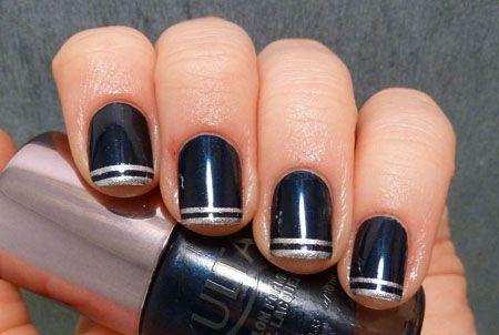 Ногти в полоску, двойной кант (+ пошаговые фото) - маникюр, полоска, ногти в полоску, как сделать полоску на ногтях, нейл-дизайн, нейл-арт, пошаговые фото, самодельный скотч для ногтей