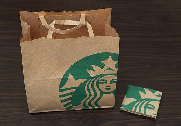 Lifehack: Transform a Starbucks paper bag into a fully functional wallet!