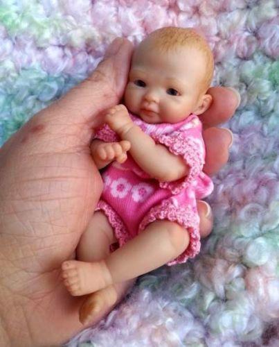 Miniature Ooak Hand Sculpted Newborn Baby Girl Clay Art Doll Toy