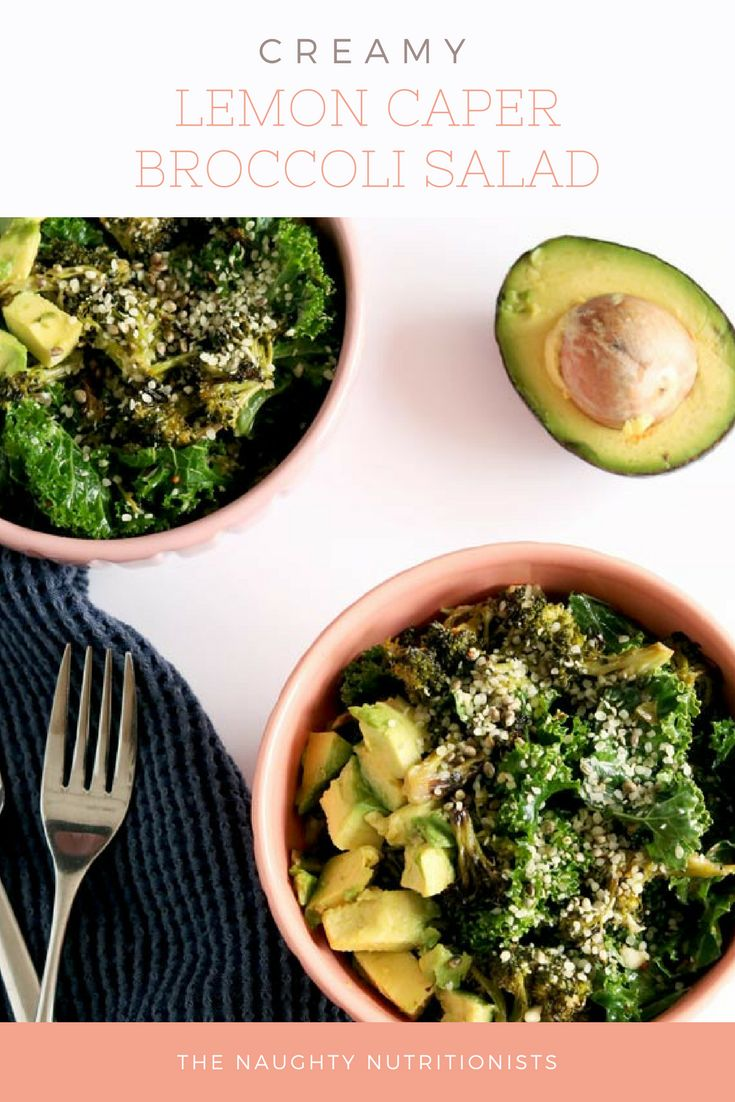 This delicious and completely vegan Creamy Lemon Caper Broccoli Salad tastes just like a nourishing slaw. #broccoli #naughtynutrition