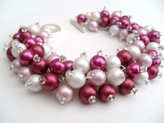 Cluster Pearl Bead Bracelet Mulberry and Pink Chunky by KIMMSMITH