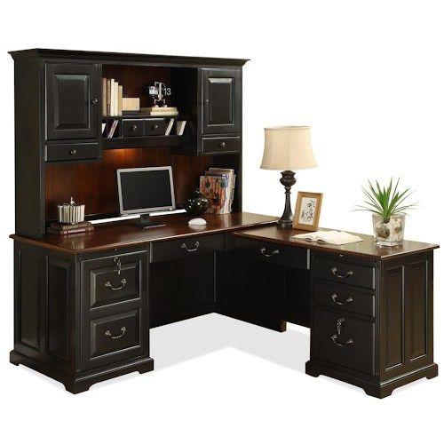 Riverside Furniture Bridgeport  L-Shape Computer Workstation Desk with Hutch