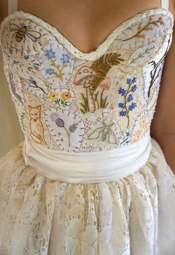 Meadow Bustier Wedding Gown or Formal Dress... boho whimsical woodland country vintage prom formal hand embroidered halter eco friendly