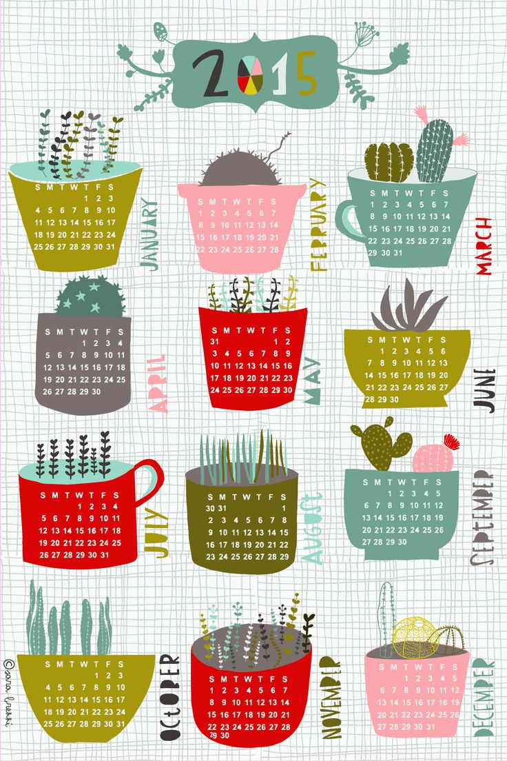 Cacti and succulents 2015 tea towel calendar, my entry for Spoonflower weekly challenge!!!!