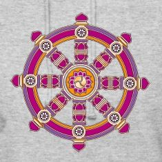The Dharma Wheel of Fortune is one of the Eight Auspicious Symbols of Buddhism and represents the perfection of the dharma, the Buddha's teaching.