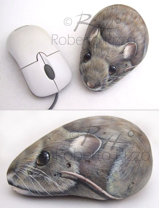 Mouse | Rock painting art by Roberto Rizzo