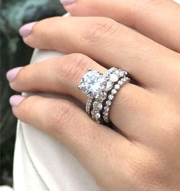 Certified 2.67 ct Round Diamond Trio Engagement Wedding Set in 14K White Gold #z…