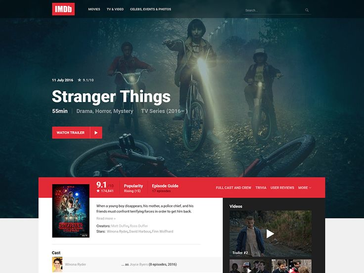 IMDb Movie/TV Page Redesign by Mads Egmose 🔥🍳