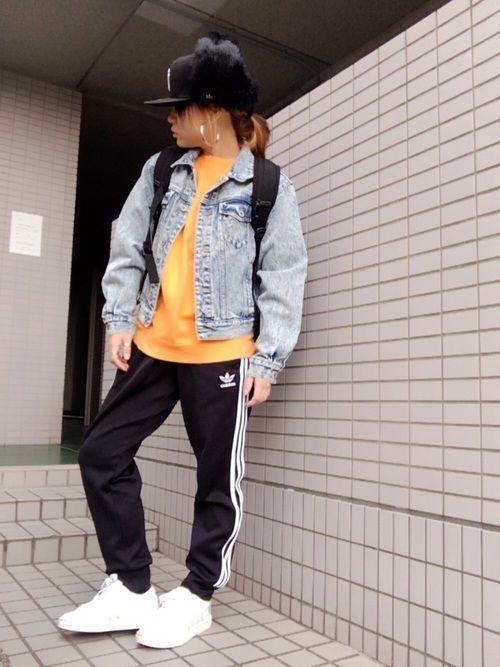 adidasジャージ! オレンジスウェットに Gジャンで がっつりカジュアル! さぶくて 外出るん