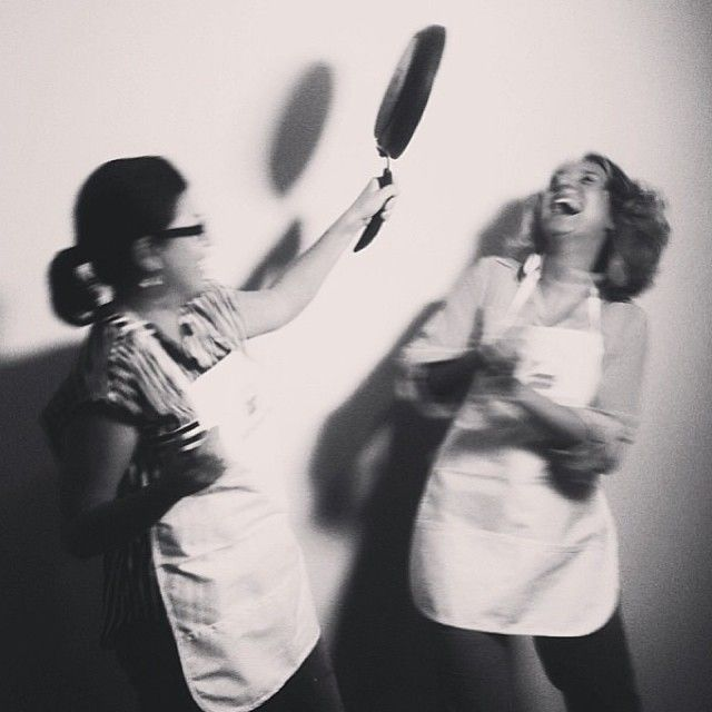Co-organizers @Annika Reinhardt and @crystalhenrickson play in pre #dinnerpartyyvr hobby chef photo booth. Tickets still for sale at socialbites.ca. 100% ticket sales to be donated to local charities!