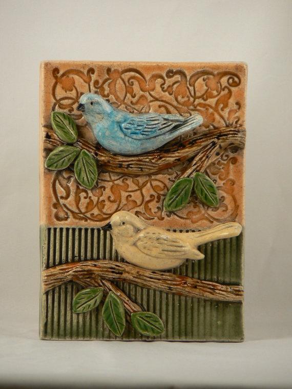 Ceramic Tile Two Birds by tilebyfire on Etsy, $65.00