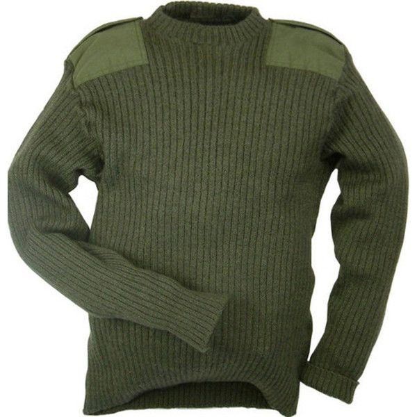 Genuine British Army Surplus Commando Pullover Military Wool Jumper... ❤ liked on Polyvore featuring tops, sweaters, pullover sweater, wool pullover, olive green sweater, olive green jumper and wool pullover sweater