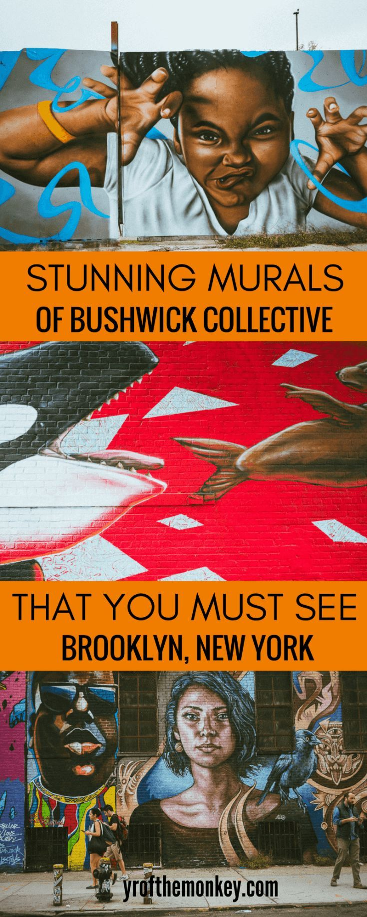 Bushwick Murals is your guide to the stunning Bushwick collective street art in Brooklyn, NYC, USA. Includes a handy Bushwick street art map to locate the murals. Pin it to your New York City travel board as a reminder! #bushwickcollective #streetart #graffiti #murals #newyork #newyorkcity #brooklyn