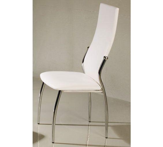 silla para comedor tapizada en piel textil color blanco