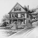 Three story frame home rendered in Pen & Ink by Custom House Portraits by Richelle Flecke