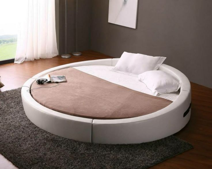 The Vig Furniture Opus Modern Round Leather Bed Is A Unique Bed That Is  Perfect For Updating Your Bedroom To A Contemporary Style.